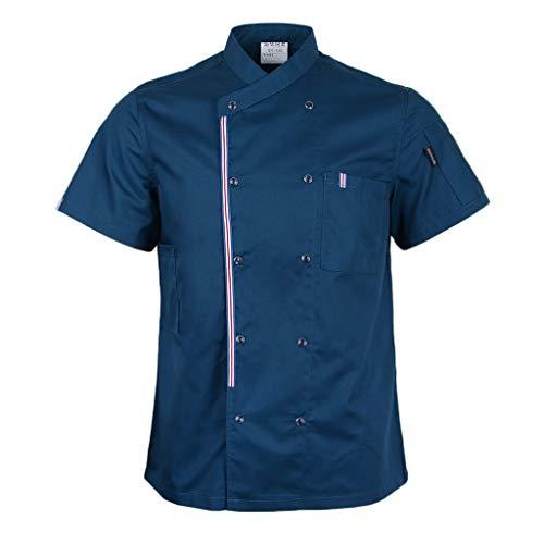 P Prettyia Atmunngsaktiv Kochjakce Bäckerjacke mit Druckknöpfe Kochbekleidung Arbeitskleidung Berufsbekleidung Arbeitsjacke für Gastronomie - Blau, M - 3