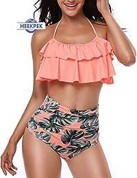 6853a01e37 heekpek Costume da Bagno Donna Vita Alta Bikini Imbottito Swimsuit Capestro  Brasiliano Balze da Beachwear Svasate
