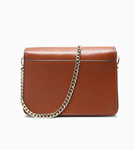 Frauen Echtes Leder Schulter Messenger Bag Mode Kette Tasche Handtasche Cross Body Bag Brown