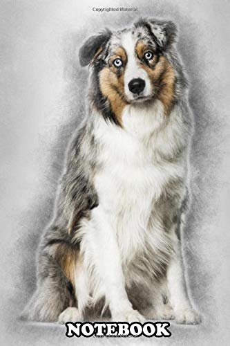 Notebook: Australian Shepherd Dog Sitting Against White Backgroun , Journal for Writing, College Ruled Size 6″ x 9″, 110 Pages