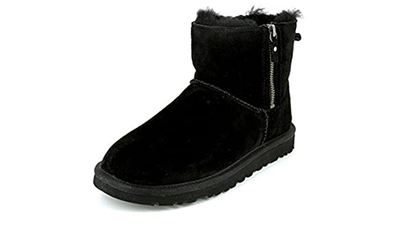c7297d6b298 UGG Womens Classic Mini Double Zip 1009861 Black Boots and Ankle ...