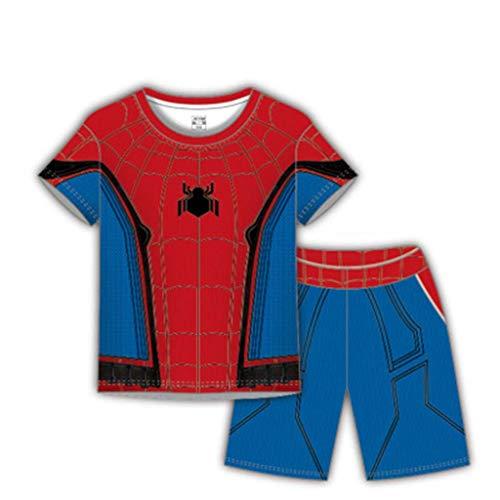 Spiderman Junge Sommer T-Shirt Set, Avengers Print Schnell Trocknende Kleidung Kurzarm + Shorts Zweiteiliges 3-11 Jahre Blue-120cm Blue Kids Crewneck Sweatshirt
