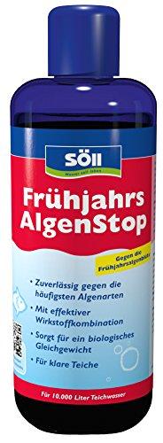 Söll 18757 Algenbekämpfung, FrühjahrsAlgenStop, gegen grünes Wasser im Gartenteich, Algenmittel für Fadenalgen, 1 x 500 ml, rot
