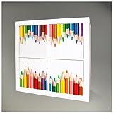 Möbelsticker für IKEA EXPEDIT (Kallax) Regal 67,8x67,8cm mit Motiv: Buntstifte