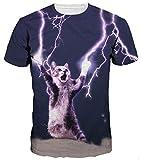 Ocean Plus Uomo Stampa Animali T-Shirt con Bottoni A Punta Tonda Manica Corta Unisex Maglietta (M/160-165, Gatto Fulmine)