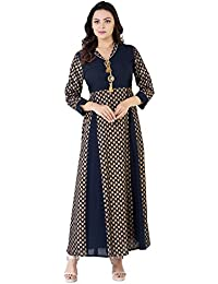 Khushal Cotton Gold Printed With Brotch Anarkali Kurti Kurta For Bridale Women & Girl Office Casual Wear Daily...