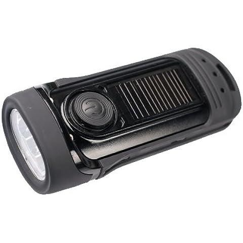 Power Plus Barracuda - Linterna LED solar y con manivela
