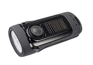 Secur wasserfeste Taschenlampe mit 3 LEDs und Handkurbel oder eingebautem Solar, Hochleistungs-LED mit 3 Funktionen, dynamo-betrieben, Batterien werden nicht benötigt, wasserfest bis zu 45 Fuß (13,7 m)