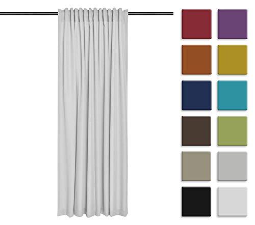 Rollmayer Vorhang mit Tunnelband (Reno Aschgrau Hell 11, 140x215 cm - BxH) Uni einfarbig Verdunklungsgardine verdunkelung lichtundurchlässig für Schlafzimmer Wohnzimmer 1 Stück
