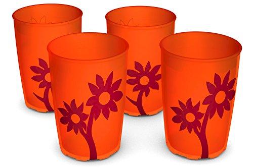 Ornamin Becher mit Anti-Rutsch Blume 220 ml orange/rot 4er-Set (Modell 820) / Trinkbecher, Pflege-Becher, Kinderbecher