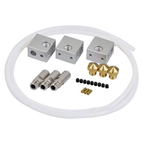 HWA KUNG 3pcs M7 Gewinde Aluminium Heizblock + 3pcs M7 Extruder 1,75mm Throat Tube + 3pcs 0,4mm Messing Extruder Nozzle + 1M 1,75mm Teflon Rohr für MK10 Markbot 1,75mm Filament 3D Drucker -