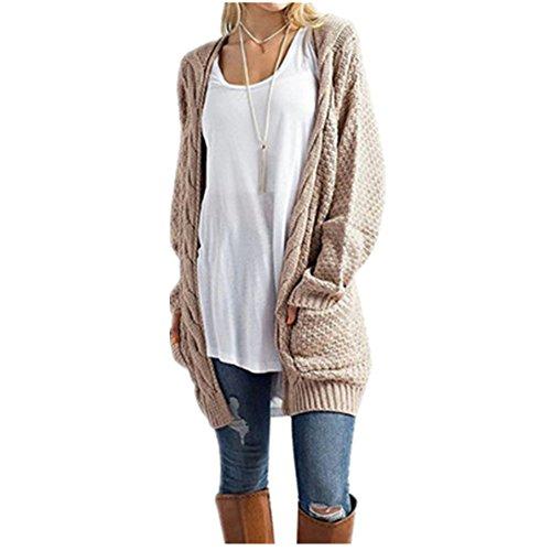 Morbuy- Élégant Femme Sweater Tricot Manche longue Haut Pull Loisirs Cardigan Outwear manches longues Chaud Avec Poches Kaki