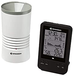 Bresser weather station radio with outdoor sensor Professional rain gauge station with DCF radio clock, alarm clock with backlight and data storage of minimum and maximum values