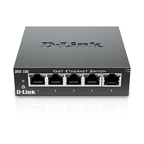D-Link DES-105 5-Port Layer2 Fast Ethernet Switch Metall (10/100 Mbit/s, einfache Plug & Play-Installation, automatische MDI/MDIX-Anpassung, automatische Geschwindigkeitserkennung, lüfterlos) -