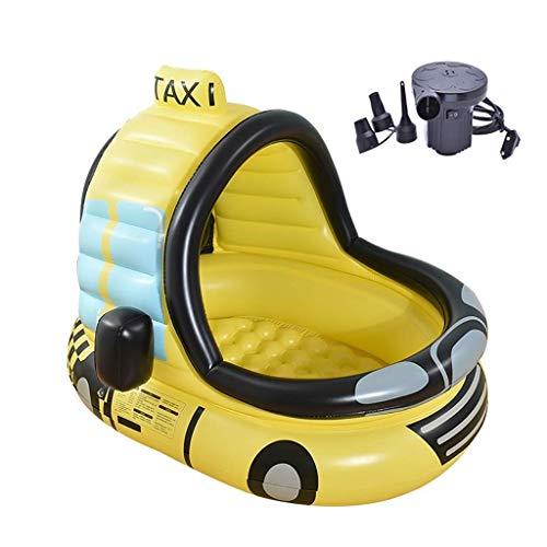 GWM Vasca da Bagno Piscina Gonfiabile per Auto, Piscina per Bambini in PVC - Fondo a Bolle - con Pompa elettrica - per Bambini sotto i 10 Anni, 120x100x130cm, Giallo