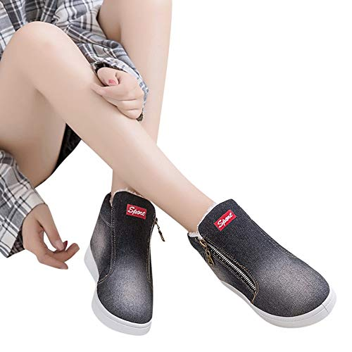 Bottes de Neige, Manadlian Bottes Hiver Femme Lettre Impression Denim Bottes Appartement d'hiver Chaussures à Bout Rond Boots Fermeture éclair Bottes Épais