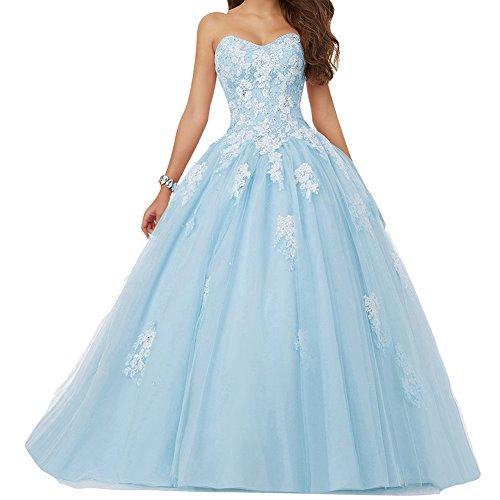 Ballkleider Lang Abendkleider Hochzeitskleider Quinceanera Kleid Prinzessin Tüll A Linie Blau EUR32