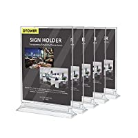 Menu Holder Poster Holder, A4 Display Stand, Double-Sided Clear Plastic Sign Holder for Tables, Restaurants, Exhibition, Photo Frames, 21 x 29.7cm - 5 Pack