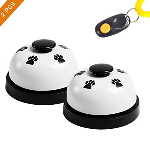 EisEyen Haustier Trainingsglocke 2 Stück Tischglocke für Hunde Katzen Pet Glocken Füttern Töpfchentraining und Kommunikationsgerät Schwärz -