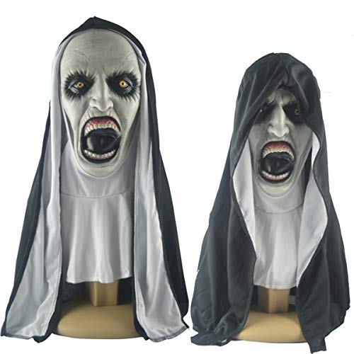 or Make-up Maske Tricky Grimasse Scary Latex Kopfbedeckung Nonne Maske,Nuns mask-OneSize ()