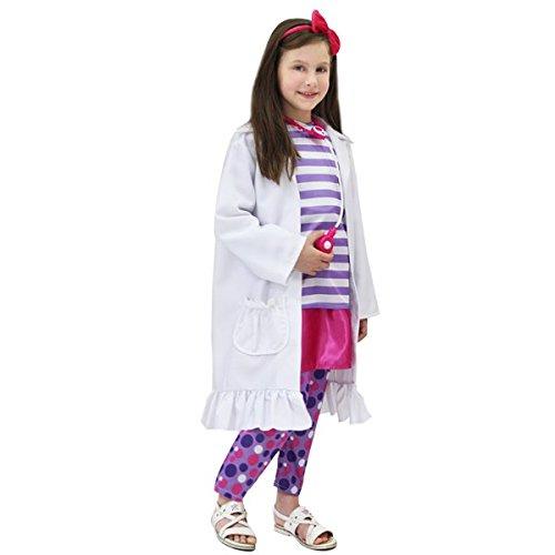 Vestito costume maschera di carnevale baby - dottoressa peluche - taglia 5/6 anni - 88 cm