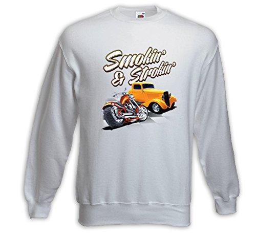 Hot Rod Pullover Smokin and Strokin weiß Vintage Rockabilly Biker Weiß