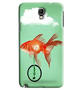 Blue Throat Fish Riding Bicycle Printed Designer Back Cover/ Case For Samsung Galaxy Note 3 Neo