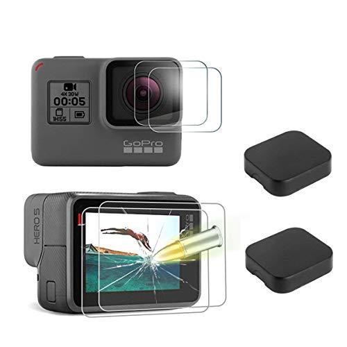 zfolie aus Glas und 2 Stück Kamera Hülle für GoPro Hero 5 Black, GoPro Hero 6 Black und GoPro Hero 7 NUR Black Version,9H Härte Kratzfest Displayschutzglas ()
