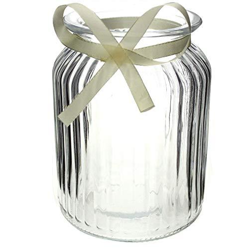 Annastore 12 x Windlichter aus Glas H 14,5 cm inkl. cremefarbenem Dekoband, auch für große Teelichter ideal