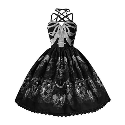 Steampunk Kleid Damen Oversize M-5XL, UFODB Ladies Gothic Vintage Skull Print Punk Stil Strap Hepburn Swing Abendkleider Lateinkleid Cocktailkleid Off Shoulder Partykleid