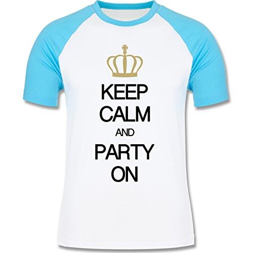 Keep calm - Keep calm and party on - zweifarbiges Baseballshirt für Männer Weiß/Türkis