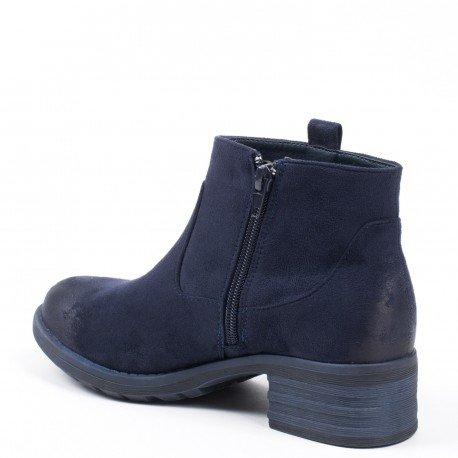 Ideal Shoes - Bottines effet daim avec partie ajourée Daila Marine