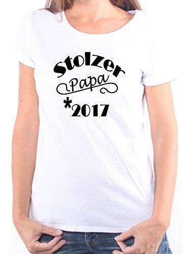 Mister Merchandise Ladies Damen Frauen T-Shirt Stolzer Papa 2017 Tee Mädchen bedruckt Weiß