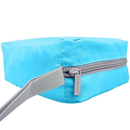 Kulturtasche zum Aufhängen Kulturbeutel Kulturtasche zum Aufänhangen Waschtasche Toiletbag Kosmetiktasche Reisetasche Beutel Bag für Reisen, Outdoor, Urlaubs, Geschäftsreise-ROSA Himmelblau