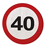 Folat 28340 Party Servietten Verkehrsschild (1 x 20 Stück)- Zahl 40