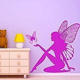 yaoxingfu Fairy & Butterfly Fantasy Etiqueta de La Pared Diseño Artístico Tatuajes de Pared Habitación de Las Niñas Decoración Infantil E-co Friendly Vinyl Wallpaper S48X50cm