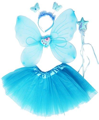 Fun Play Fee Flügel - schmetterlingsfee Flügel, Tutu, Zauberstab und Stirnband Set Wasserblau