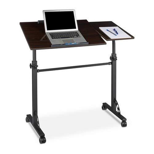Relaxdays Laptoptisch groß XXL höhenverstellbar, HxBxT: 110 x 100 x 50 cm, Holz, Mobiles Rednerpult, Bremsbare Rollen, Notebook, Beamer, Laptops, 2 Ablagen, Ebenholz schwarz