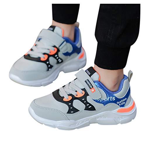Rokoy Scarpe da Ginnastica Basse Unisex -Bambini Stivaletti/Sneaker Imbottiti di Cotone Appartamenti Stivaletti Antiscivolo Casual Camminate All'Aperto Shoes(31,Grigio)