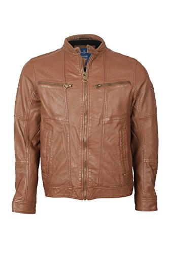 Tom Tailor Herren Lederjacke unforeseeable leather jacket (versch.farb) (M, Braun)