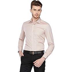 Louis Philippe Mens Printed Regular Fit Formal Shirt (LPSF318V003420_Beige_39)