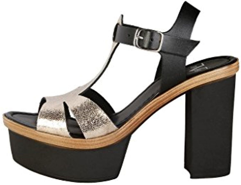 V 1969 EGLANTINE_NERO_PLATINO Sandalias De Vestir Para Mujer Tacón: 11 cm -