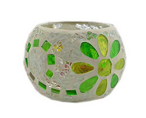 Mosaïque en forme de Vert Porte-bougie en verre pour bougie chauffe-plat décoratif