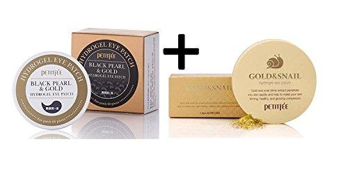 Petitfee schwarze Perle und Gold Augenklappe + Gold und Schnecke Augenklappe Set - Augen-gel-essenz