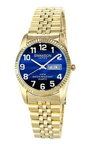 Swanson Herren-Armbanduhr, goldfarbenes Zifferblatt mit großen weißen Zahlen -