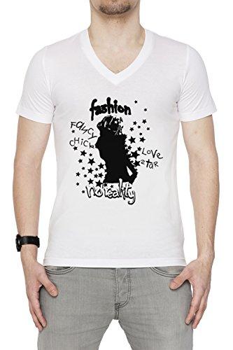 Fashion Uomo V-Collo T-shirt Bianco Cotone Maniche Corte White Men's V-neck T-shirt