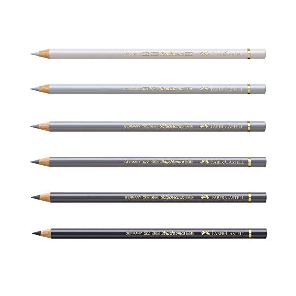 Faber-Castell 210007 crayón Polychromos, 6 pines en un fardo, gris fresco