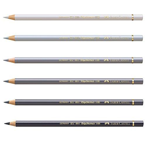 Faber-Castell 210007 Farbstift Polychromos, 6 Stifte im Bundle, cool grau