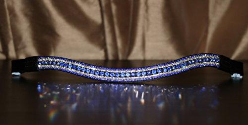 Pferde-Stirnband von Equipride - Schön, funkelnd, mit Strass-Steinen, Kurvenform, Farbe: Königsblau, Black Leather, Cob ( 15