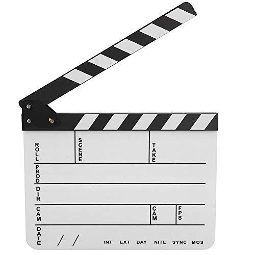 Mugast Tragbare Regisseur Szene Filmklappe, Acryl Film Clap Board Filmklappe mit Trocken Abwischbaren Stift für Shoot Requisiten Werbung Dekoration(Schwarz-Weiss)